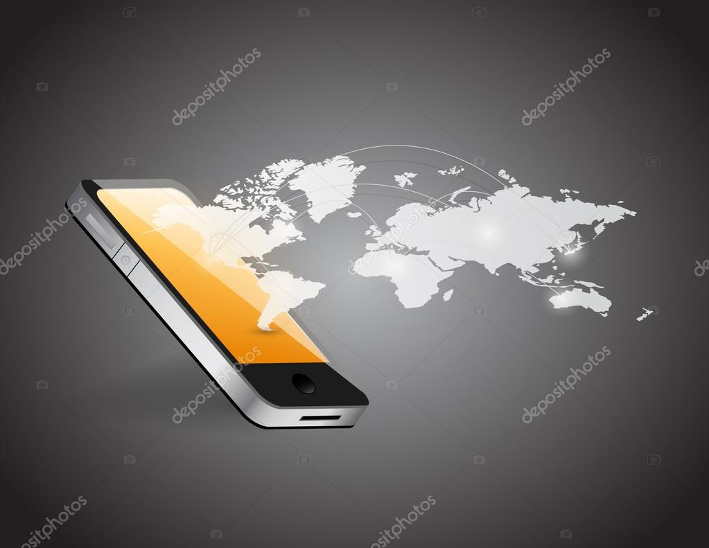 Phone and world map network illustration design stock photo phone and world map network illustration design stock photo gumiabroncs Choice Image