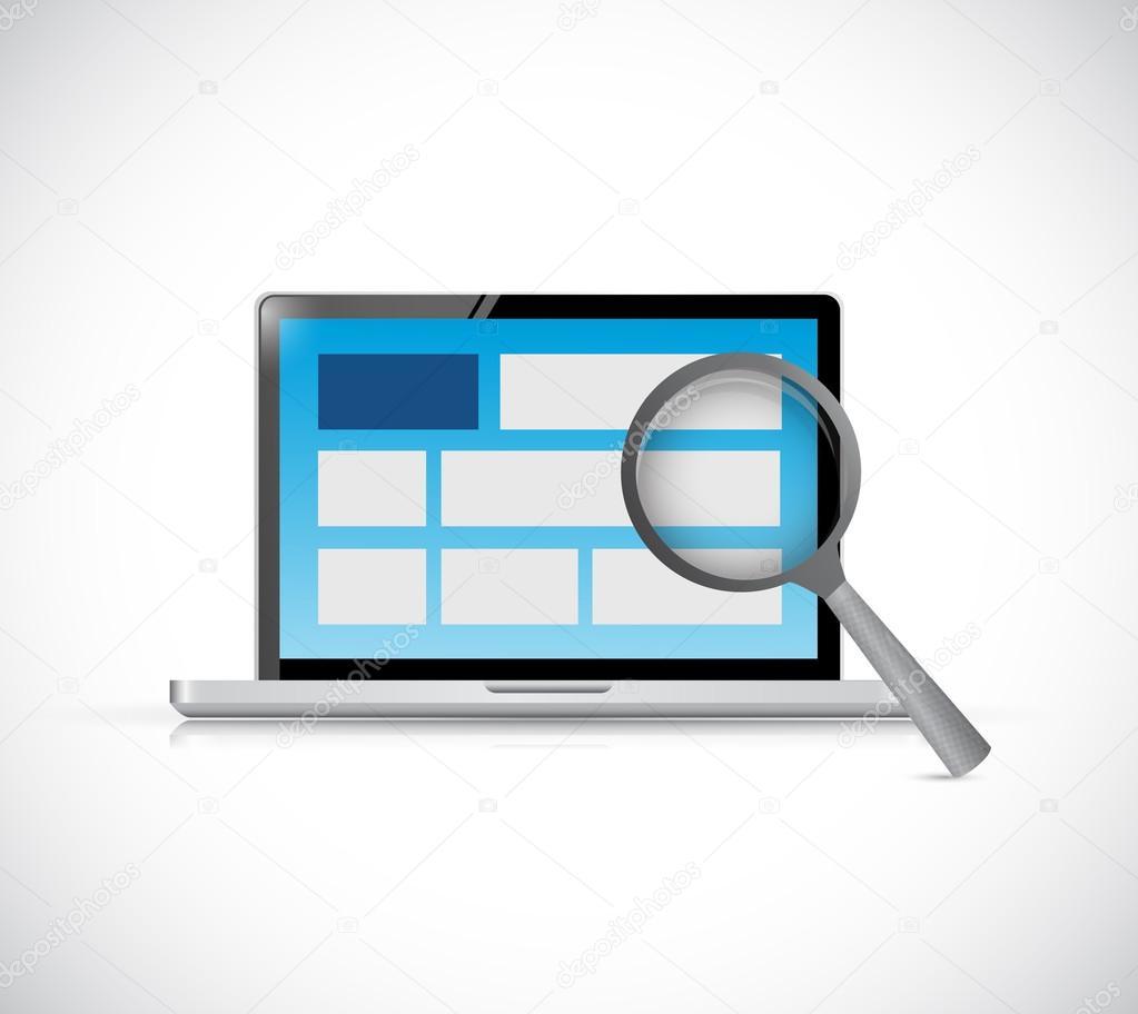 laptop computer website review. internet concept