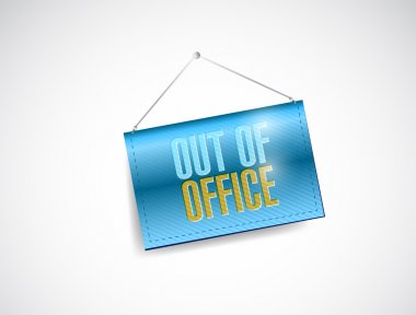 out of office hanging door sign illustration