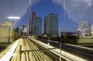 Tokyo trainyard and skyline