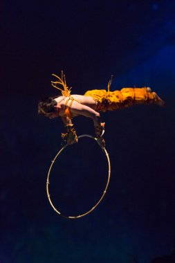Acrobat in action in a circus