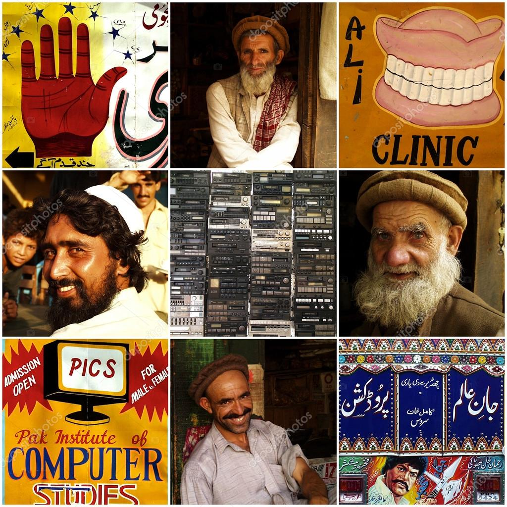 PESHAWAR, PAKISTAN, JUNE 23: Composition of various life style photos in Peshawar, Northern Pakistan. The smuggler bazar, the big mosque, sleepers and different portraits. The area is now under the control of the Talibans. 2000 stock vector