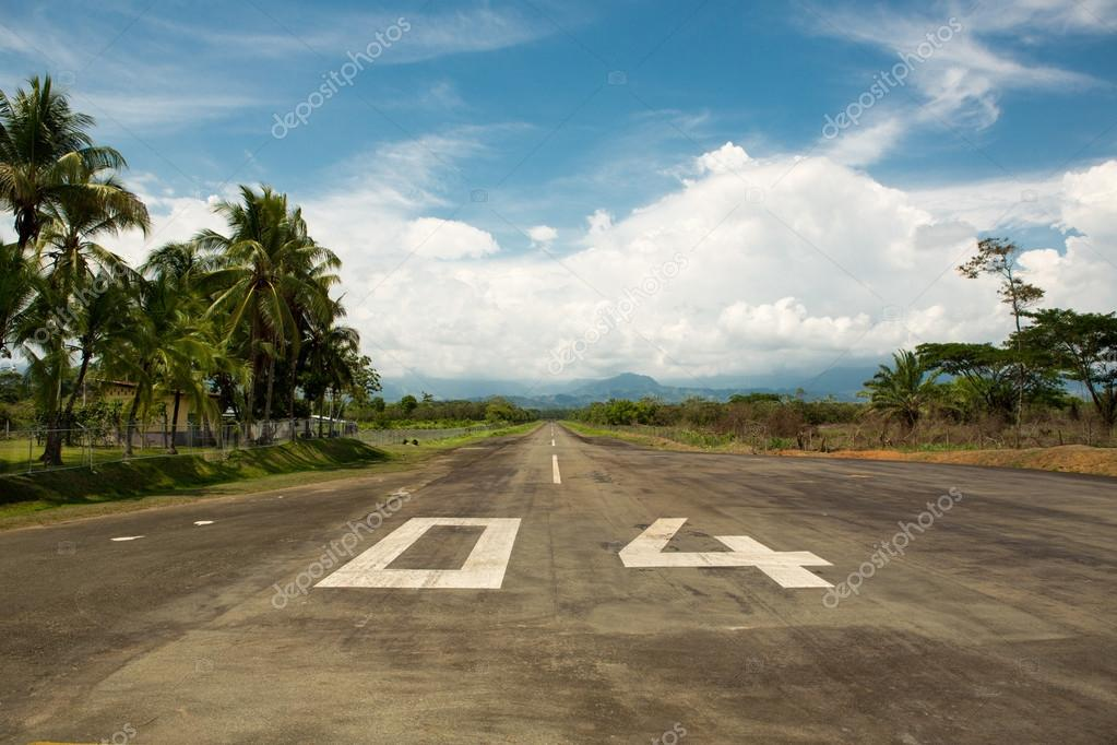 Local airport of Quepos in Costa Rica with the mountains and the