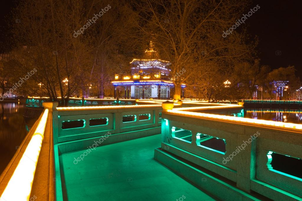 Park at night with illuminated led lights in China