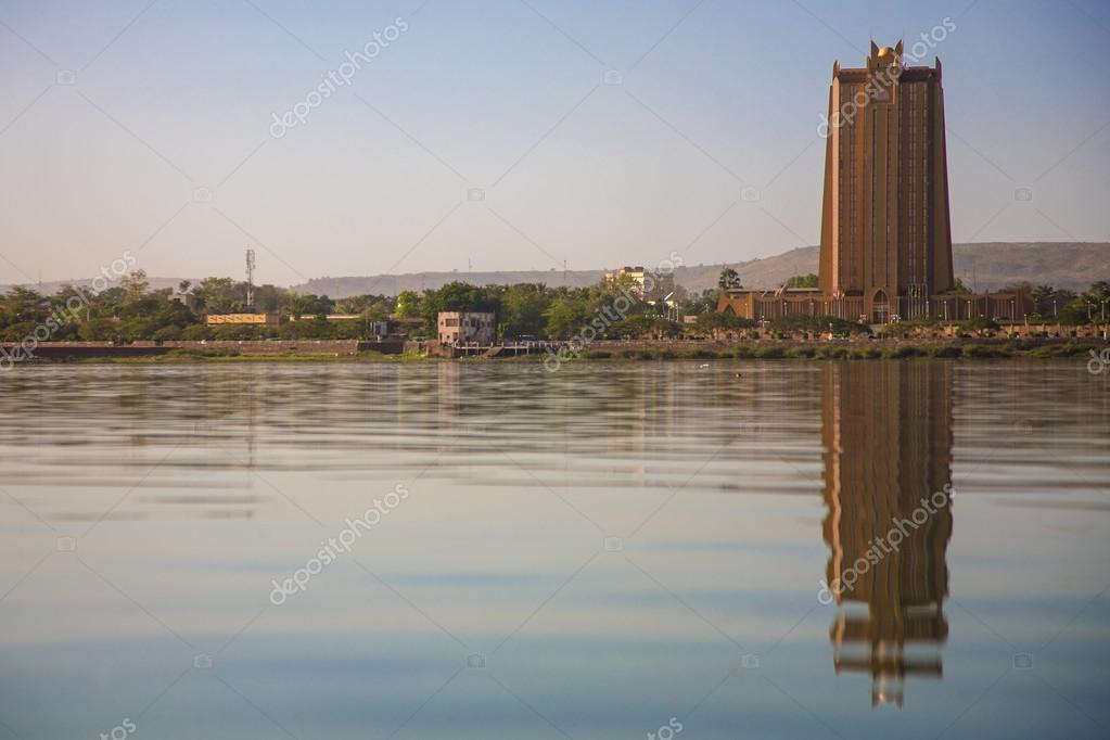 Modern architecture in front of the Niger River in Bamako