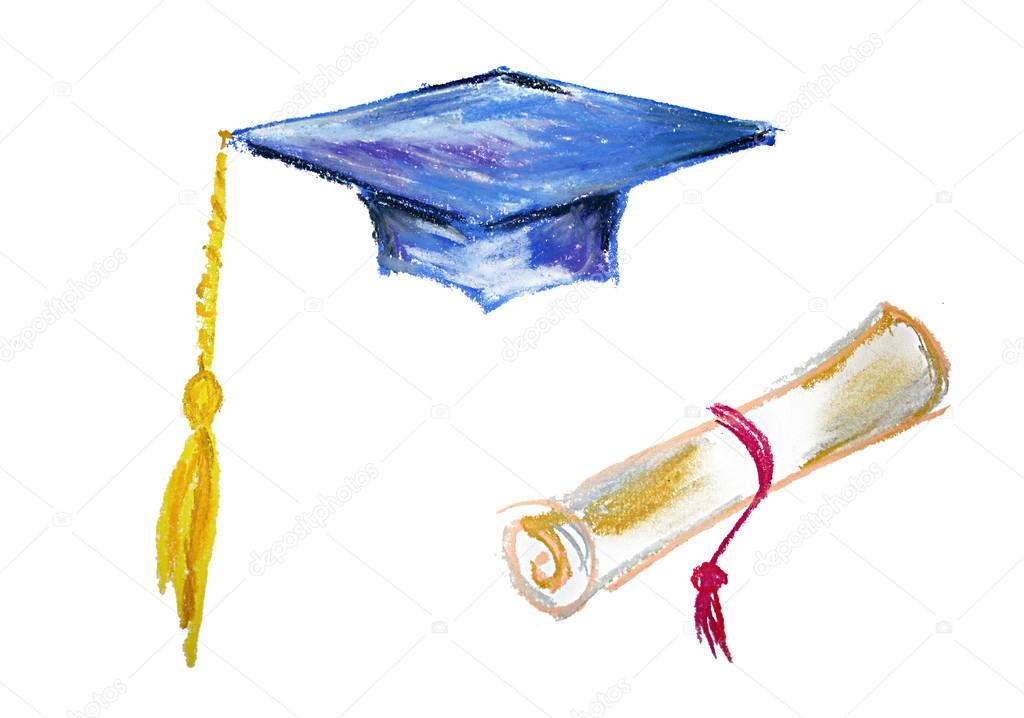 graduation cap diploma isolated illustration on white photo by lenanet