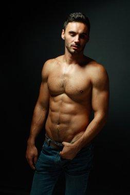 portrait of topless macho man