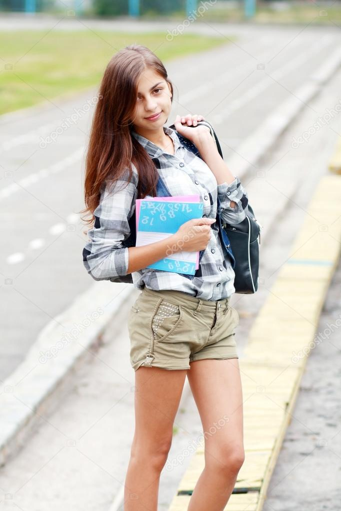 Back To School Teen Girl Outdoor On The School Stadion Going To Study Photo By Lenanet