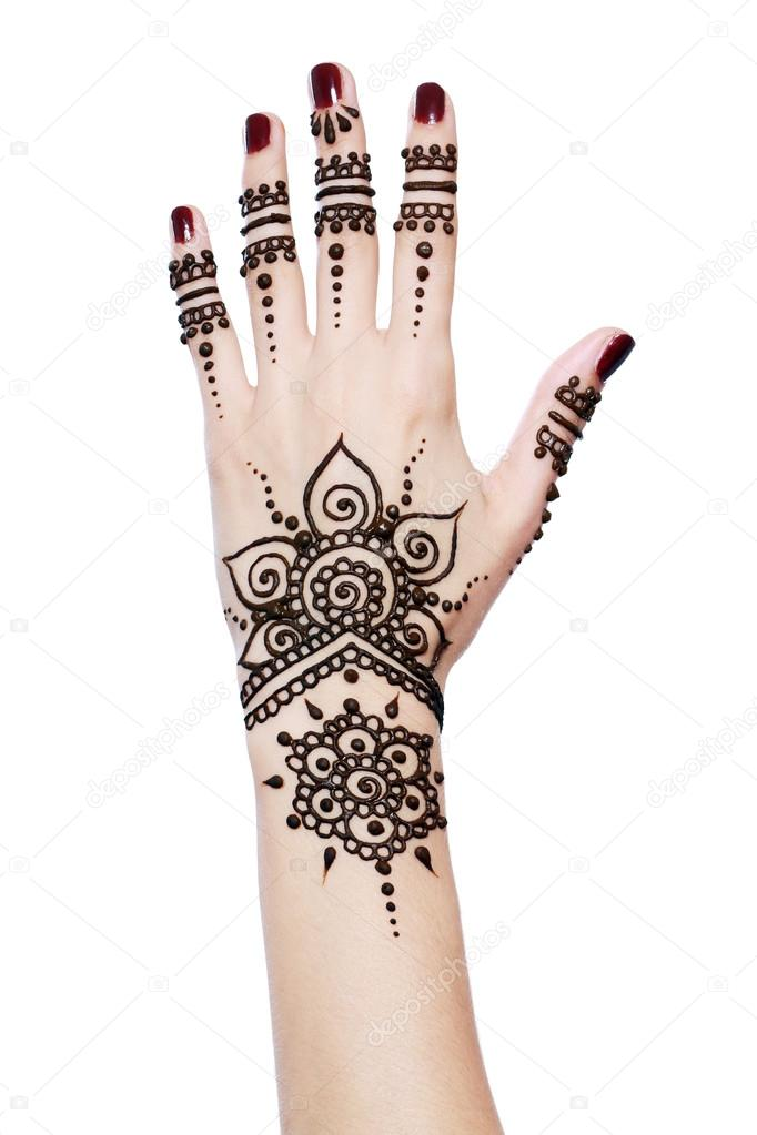 Henna being applied to hand stock photo lenanet 31247177 for Hand tattoo download