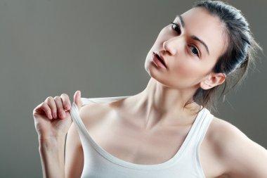 beautiful woman in white top