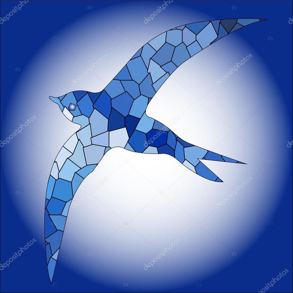 Swallow bird blue color mosaic