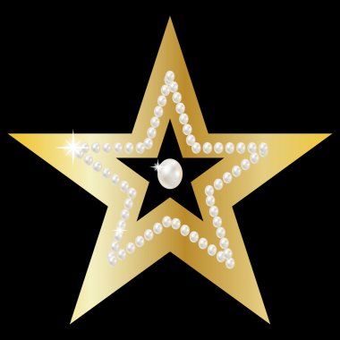 Gold star with huge precious pearls