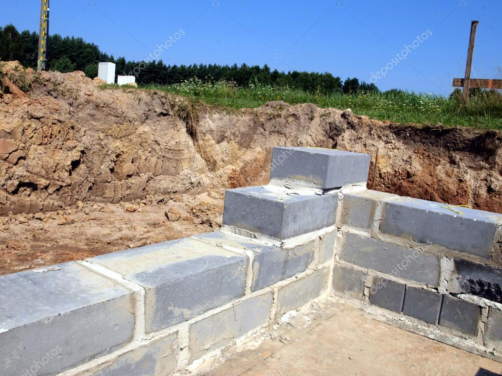 an initial stage of building the foundations of a residential ho