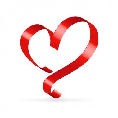 Red satin glossy ribbon heart over white stock vector