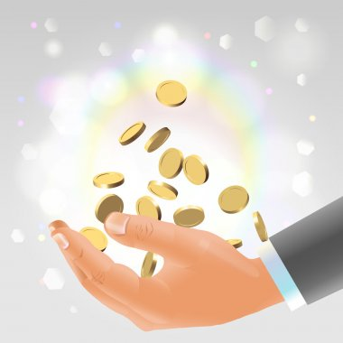 Golden coins falling into male hand