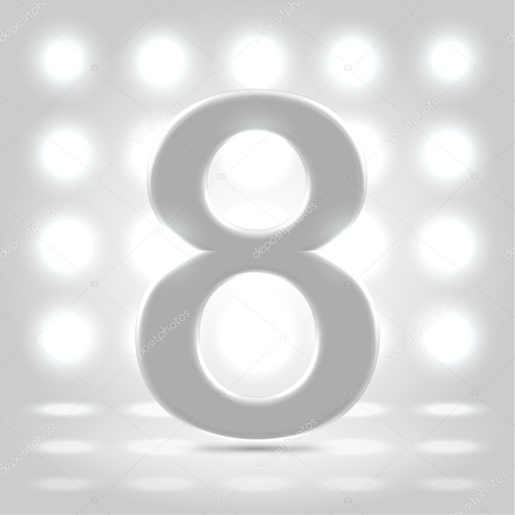 8 over lighted background