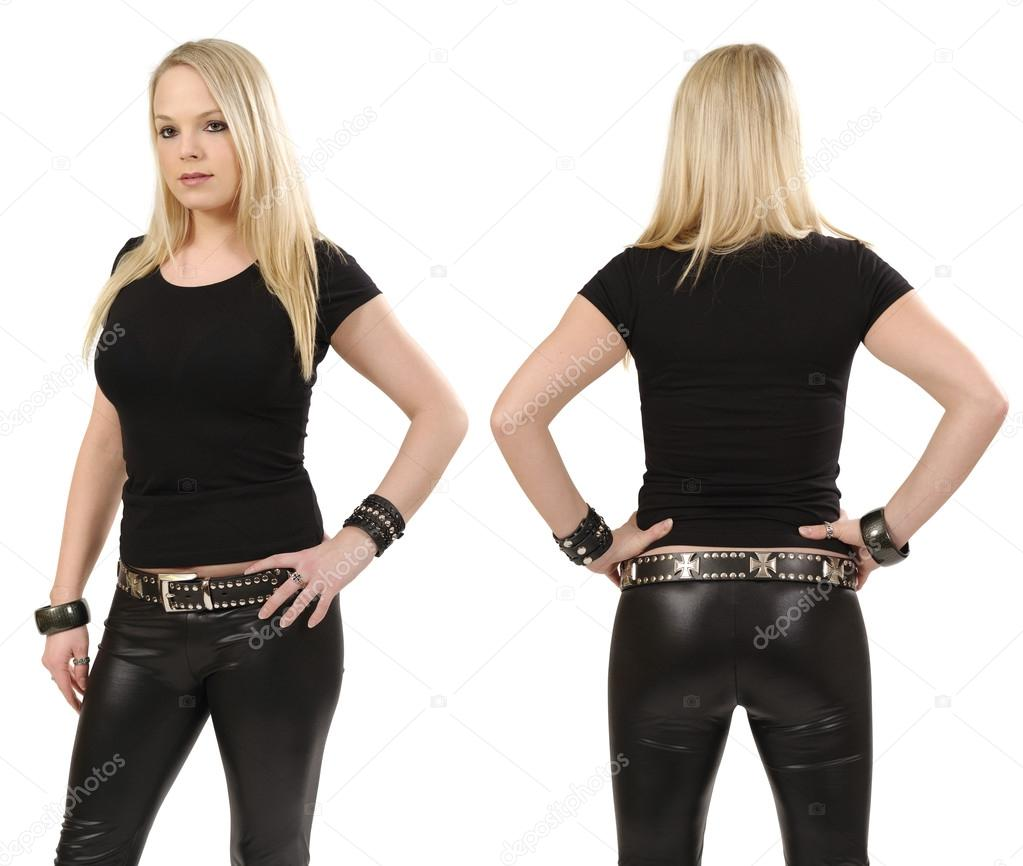 Blank black t shirt front and back - Young Beautiful Blond Female Posing With A Blank Black T Shirt Front And Back View Ready For Your Design Or Artwork Photo By Sumners