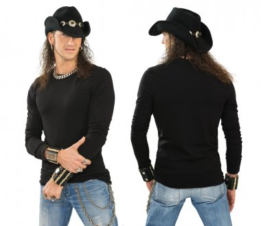 Male with blank black long sleeve shirt