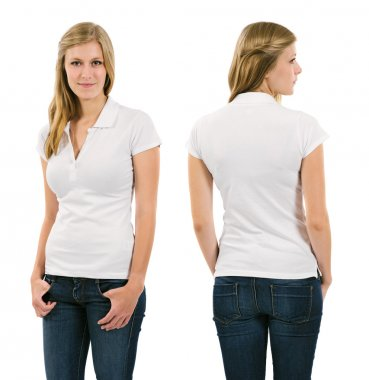 Young blond woman with blank white polo shirt