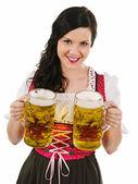 Fotografie schöne Frau dienen Oktoberfest Bier