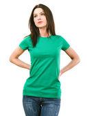 žena s prázdné zelené tričko