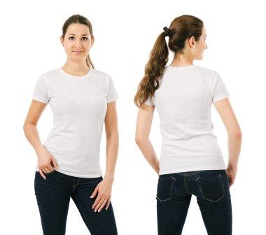 Smiling woman wearing blank white shirt