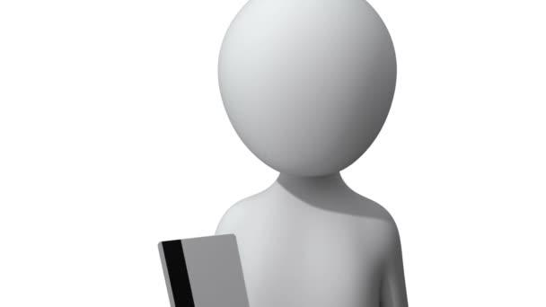 3D-s ember egy Atm gép a hitel-kártya behelyezése