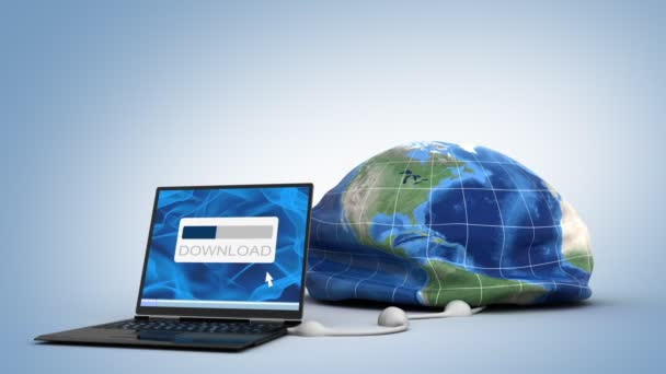 Laptop downloading the world