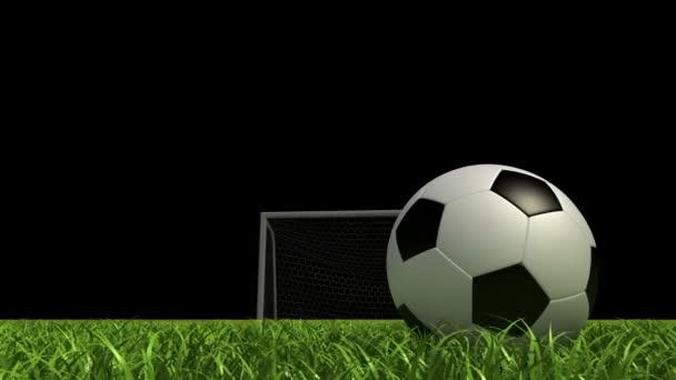 Labdarúgás háttér, futball-labdát a füvön, a stadionban. 3D animáció