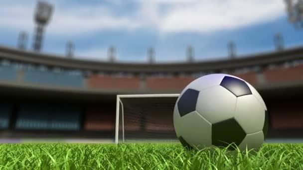 fotbalová pozadí, fotbalový míč na trávníku na stadionu. 3D animace