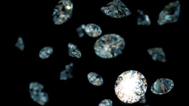 Lassan csökkenő gyémánt, gyönyörű háttér. varratmentes a hurkos 3d animáció