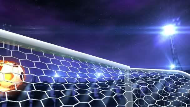 hořící fotbalový míč letí pomalu v gól proti noční obloze pozadí, 3d animace