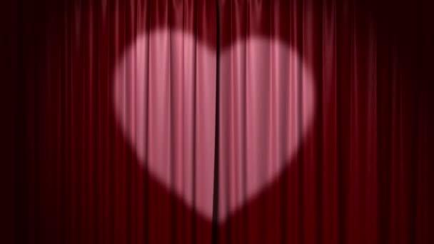 öffnende und schließende Vorhang mit Herzen, 3D-Animation mit Greenscreen