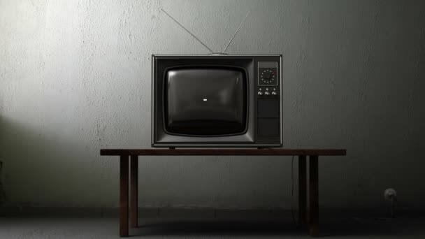 stará televize s zeleným plátnem v místnosti, 3d animace
