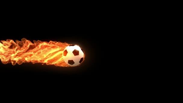 hořící fotbalový míč letí pomalu na černém pozadí, 3d animaci s alfa matný