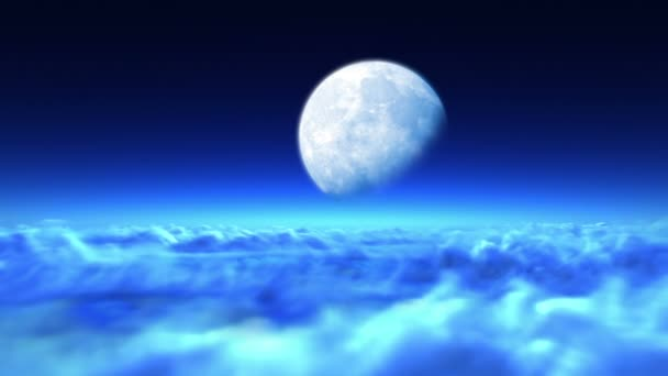Beautiful night flight over clouds to the moon, seamless looping 3d animation