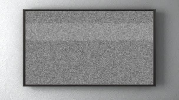 TV an der Wand drehen Kanäle mit einer Fernbedienung steuern. 3D animation