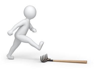 3d man stepping on a rake