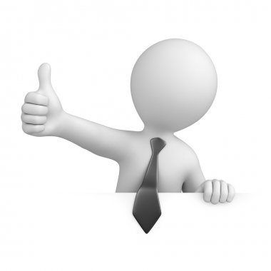 Businessman with thumb up.