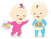 Fotografie Babies holding Easter baskets