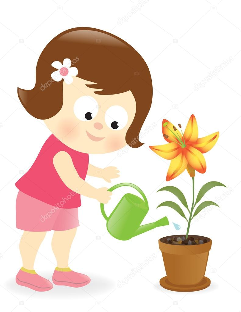Girl watering lily flower stock vector wetnose 23726453 girl watering lily flower stock vector izmirmasajfo