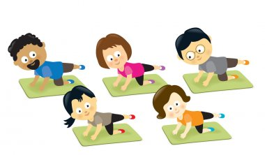 Adults exercising on mats