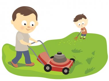 Father and son mowing and raking
