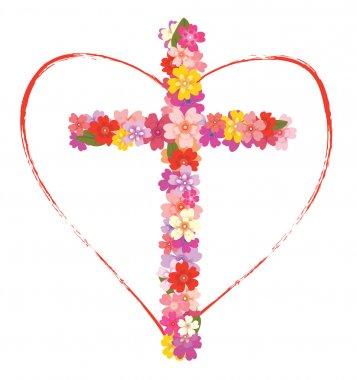 """Картина, постер, плакат, фотообои """"Крест с цветами и сердце"""", артикул 40271219"""