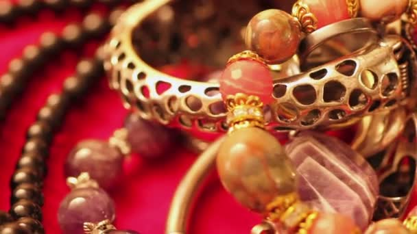 Various jewellery on the table
