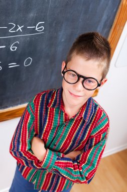Smart schoolboy at chalkboard