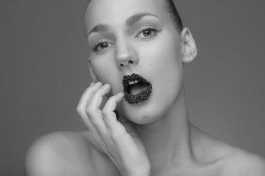 model with black caviare