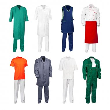 The set of various work clothes - chef cook, builder, physician, scientist, nurse, office cleaner and other workers - isolated over white background. stock vector