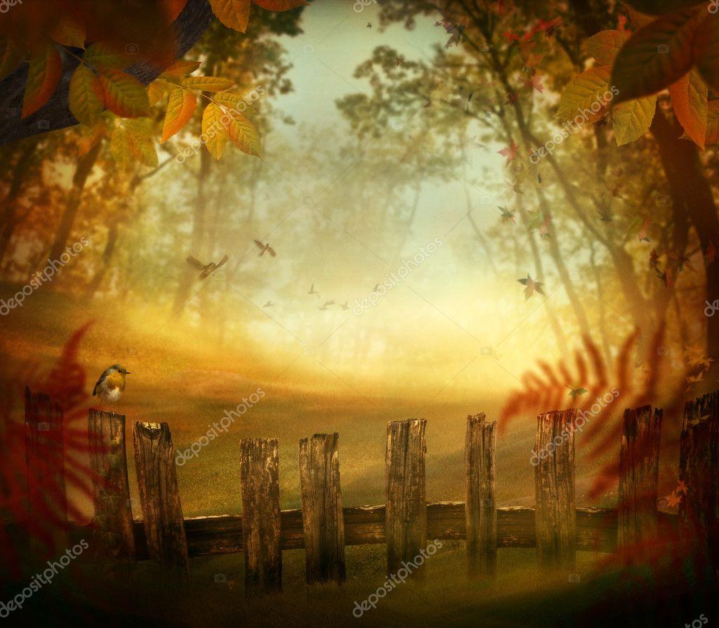 Фотообои Осенний дизайн - лес, деревянный забор