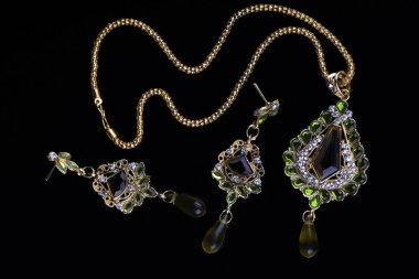 Intricate Indian Gold Jewelry - Necklace and Earrings